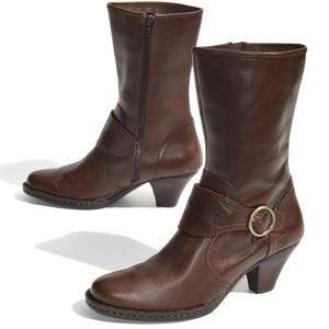 Born Women's Brown Leather Mid Calf Boots Size 9